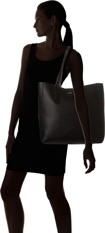 Michael Kors junie grand noir cuir sac de galets Noir (Black)