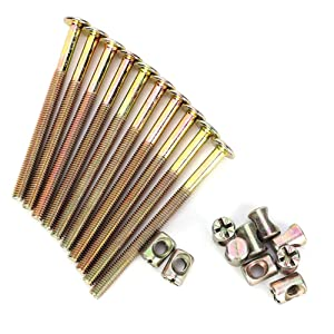 10 Pcs Nuts and Bolts, M6 Carbon Steel Furniture Bolts with Barrel Nuts Dowel Nut Connector Fastener for Crib Bunk Bed Furniture Cot Barrel Bolt Nuts Hardware Replacement Kit 90 mm Length(Bronze)