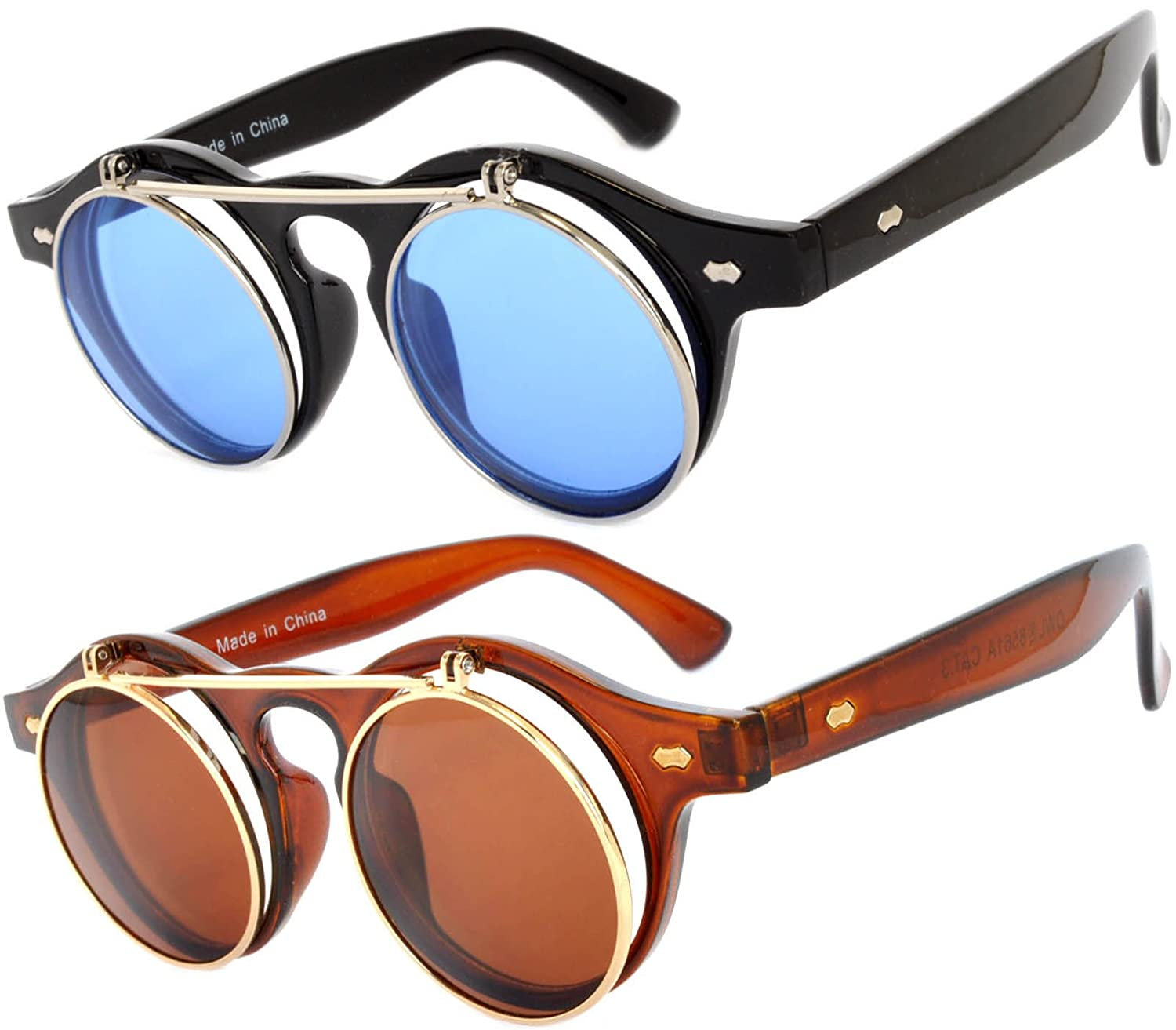 96b70efaaa Amazon.com  Flip Up Steampunk Vintage Retro Round Circle Gothic Hippie  Colored Plastic Frame Sunglasses Blue Brown Lens OWL  Clothing