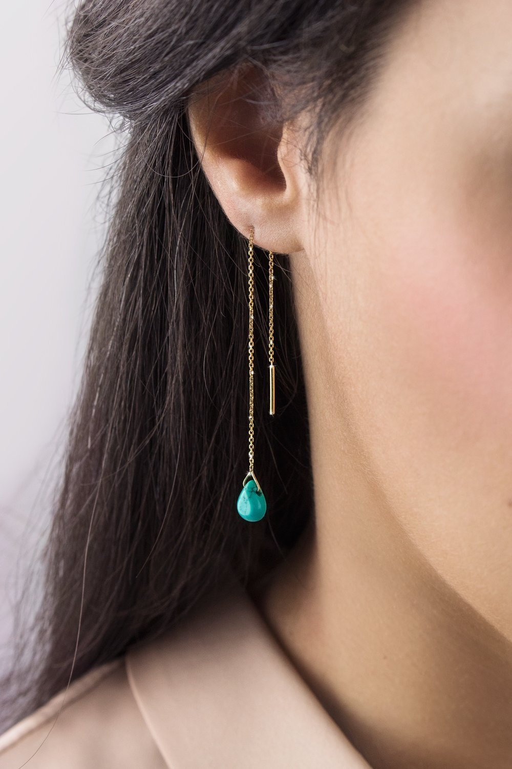 Turquoise Threader Earrings, 9K, 14K, 18K Gold Earrings, Yellow Gold Threaders, Gold Chain Earrings, December Birthstone, Gemstone Birthstone Earrings
