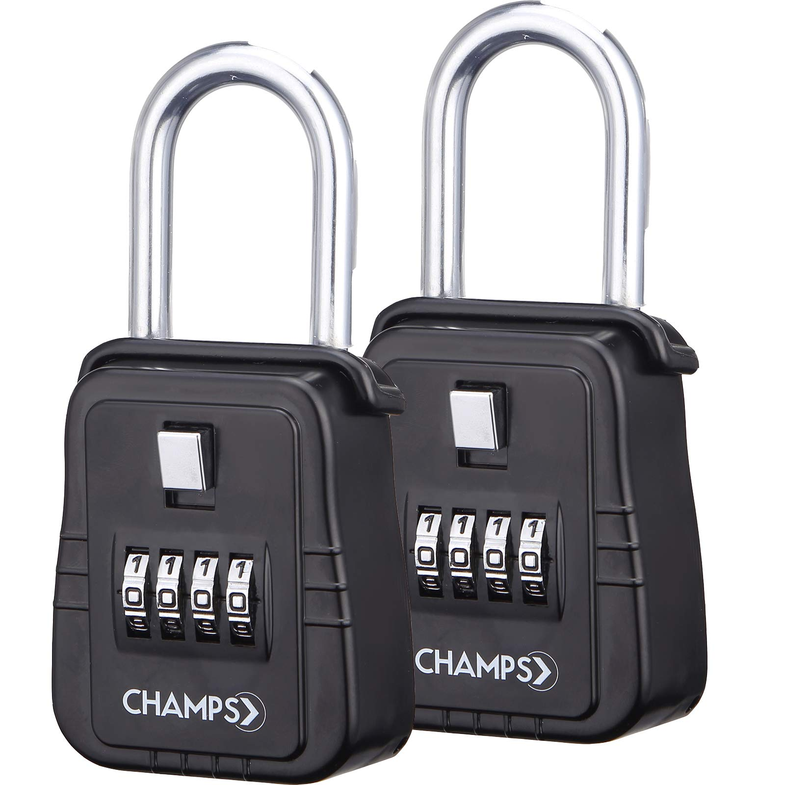 Champs Combination Realtor Lock, 4 Digit Comination Padlock, Real Estate Key Lock Box, Set-Your-Own Combination [2 Packs, Black]