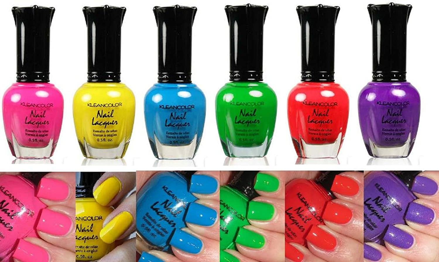 Amazon.com : Kleancolor Neon Nail Lacquer 6 Colors Set : Nail Polish ...