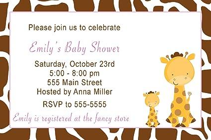 30 Invitaciones Personalizable Jirafa Niña Cumpleaños Baby