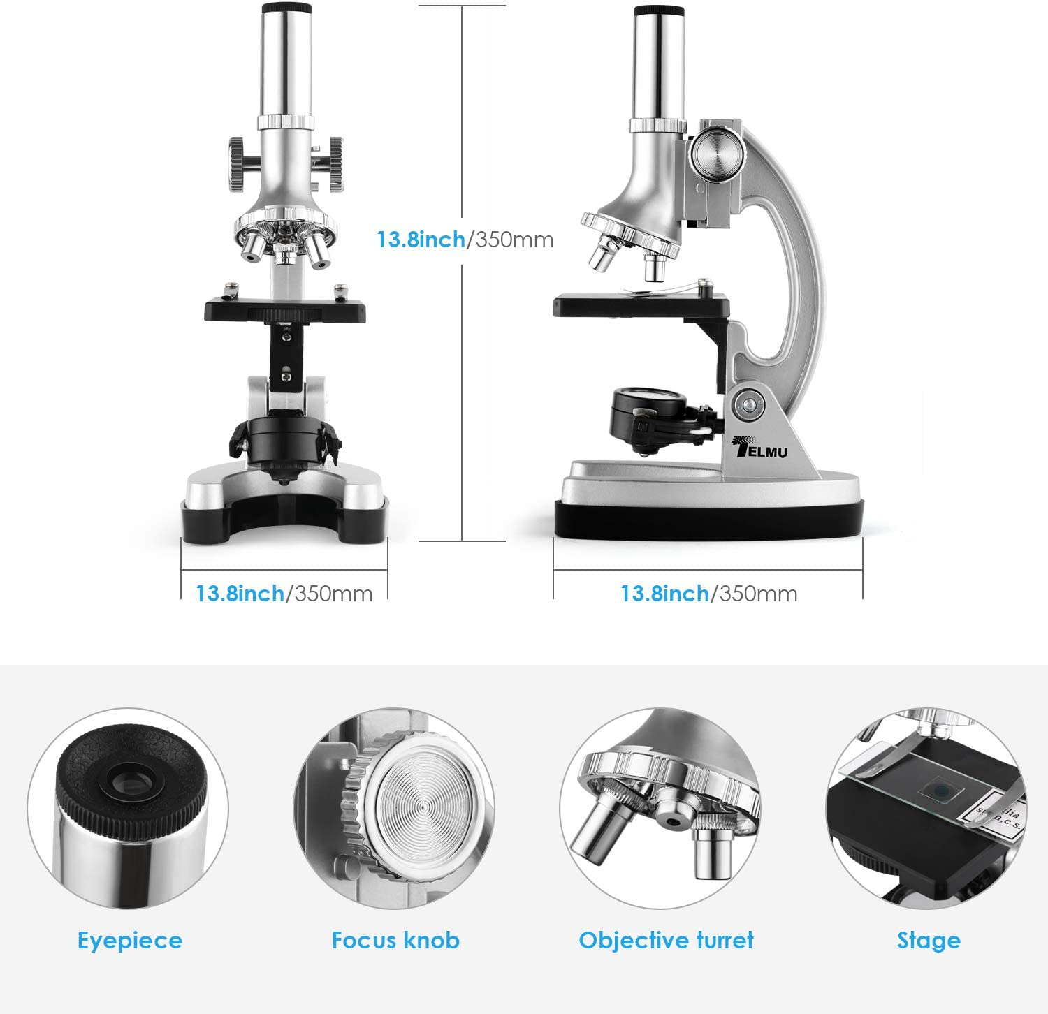 300X-600X-1200X Magnification Compound Binocular Microscopes with Metal Arm and Base for Beginners Accessory Set TELMU Microscope Includes 70pcs