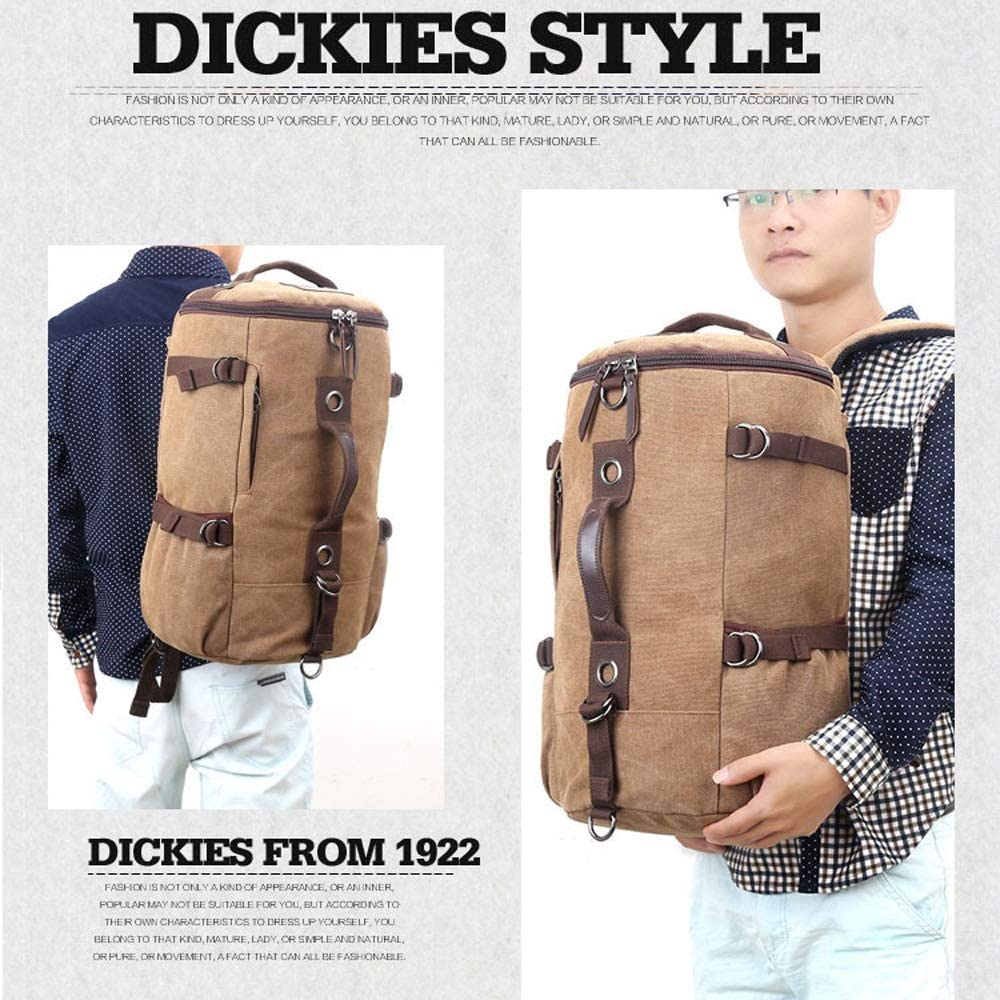 Brown 40L Large-Capacity Wearable Canvas Double Shoulder Knapsack Cylindrical Leisure Travel Daypack Camping Hiking Rucksack Student Bag Daypack LZC-1 Outdoor Mens Retro Backpack