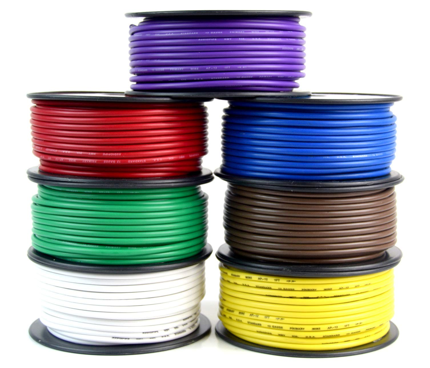 Audiopipe Trailer Wire Light Cable for Harness 7 Way Cord 12 Gauge - 100ft roll - 7 Rolls by Audiopipe