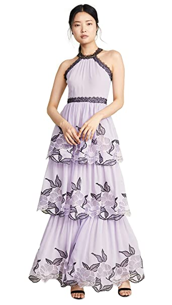 Marchesa Notte Womens Tulle Tiered Gown With Lace Trim At