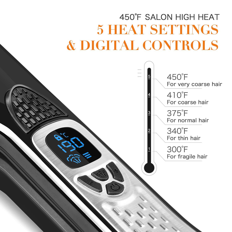 Steam Hair Straightener, Salon Professional Nano Titanium Ceramic Steam Flat Iron Hair Styler with Removable Teeth Comb Digital LCD 5 Level Adjustable Temperature Auto Temperature Lock – Black