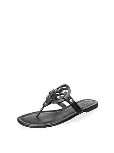 Tory Burch Miller Flip Flop Veg Leather Thong Sandal Logo Black (8)