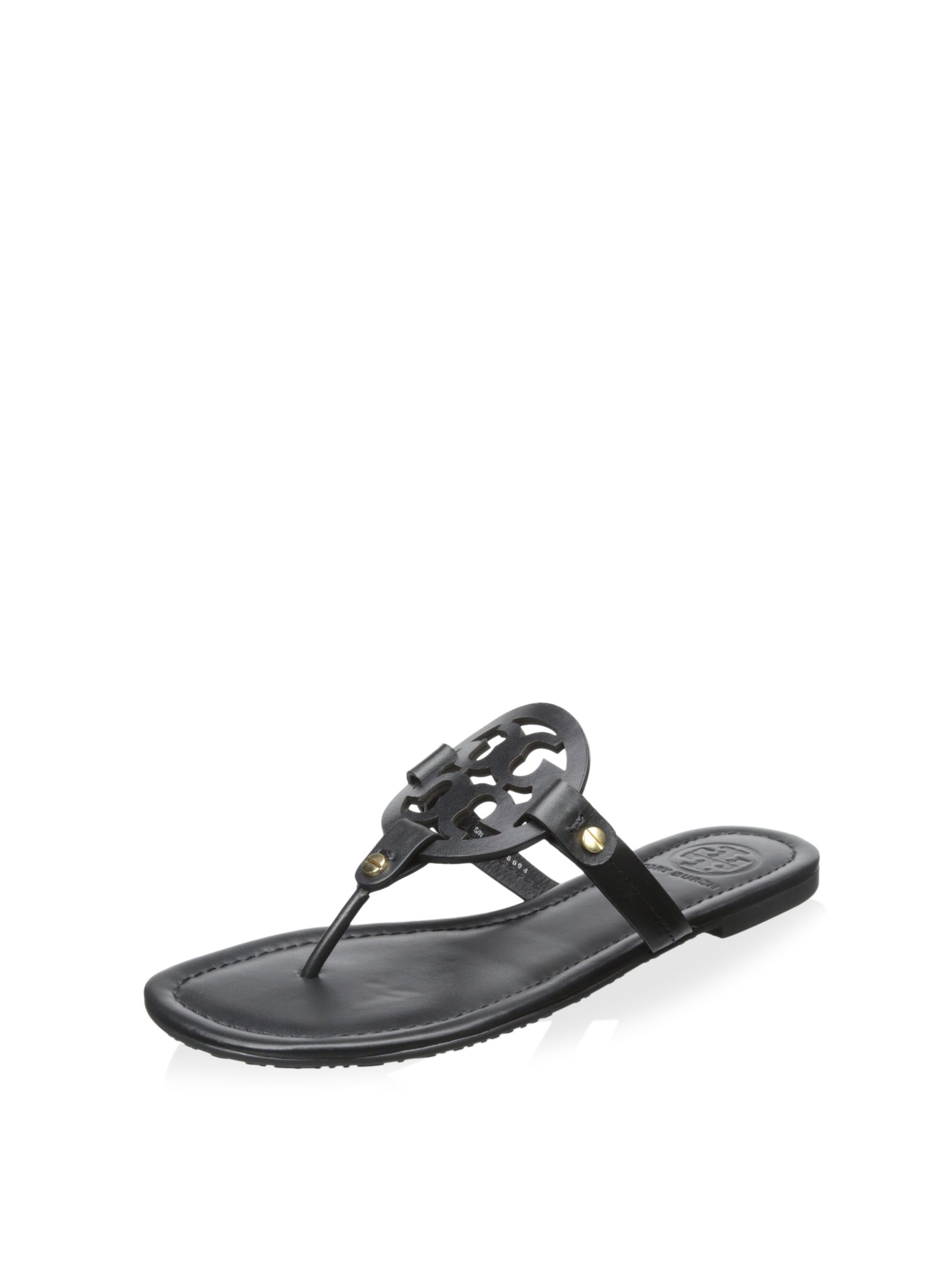 Tory Burch Women's Miller Leather Sandal (8.5, Black)