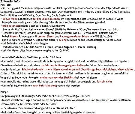 Rökü 2x Luxus Lammfell Sitzbezug Dicht Dick Passend Silber Auto