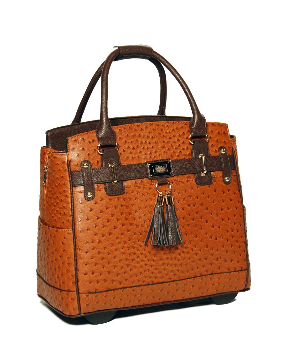 LESS THAN PERFECT - ''The Uptown'' Ostrich Computer iPad, Laptop Tablet Rolling Tote Bag Briefcase Carryall Bag by JKM and Company (Image #2)