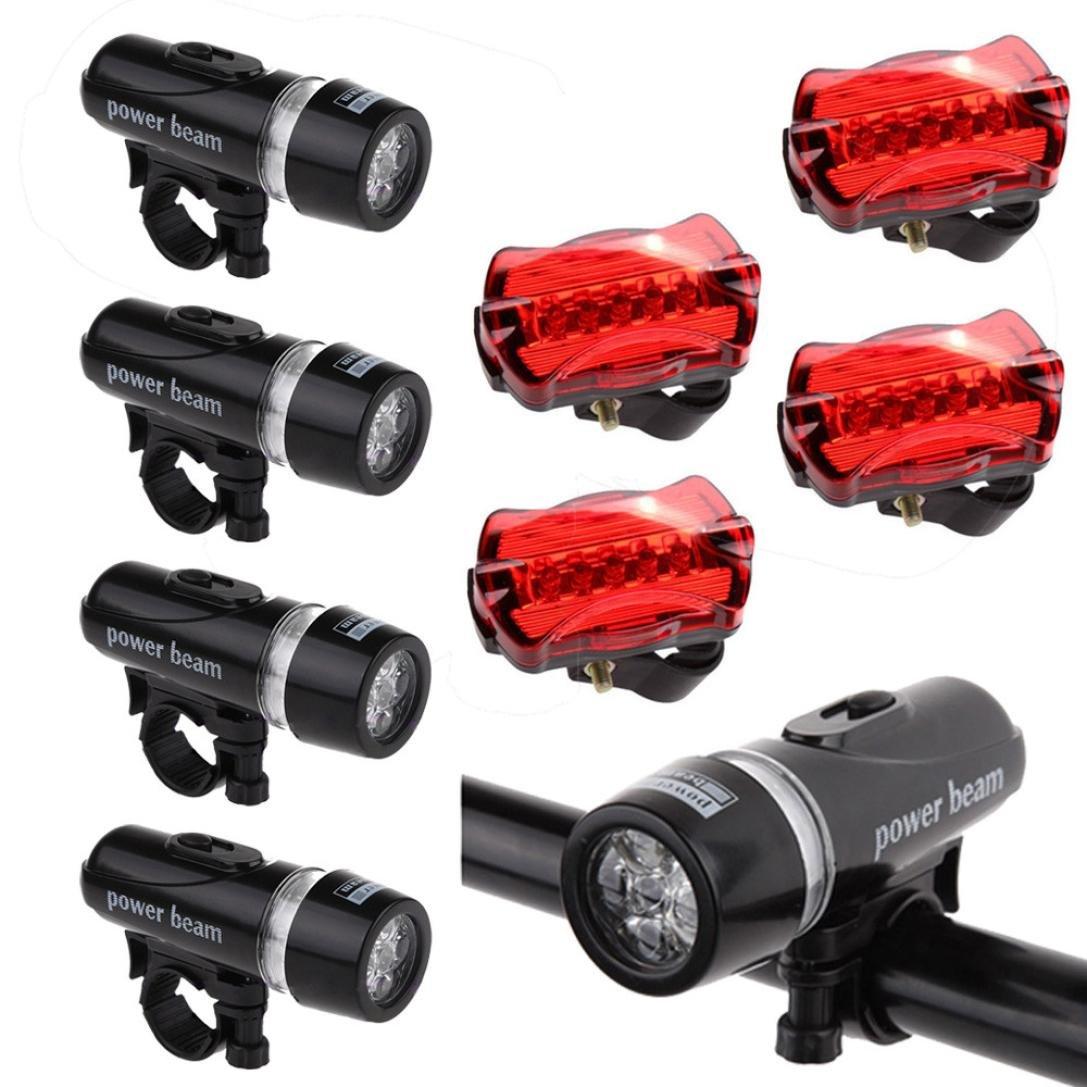 Fenebort Super Bright 5 LED Bicycle Light Set,Waterproof Lamp Package Include 4 x Bike Head Light 4x Rear Safety Flashlight 4 x Bracket