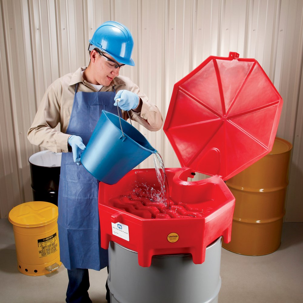 "New Pig Poly Drum Funnel with Hinged Lid, For 55 Gal Tight-Head Steel & Poly Drums, 29"" Diam x 11"" H, Red, DRM672-RD by New Pig Corporation (Image #4)"