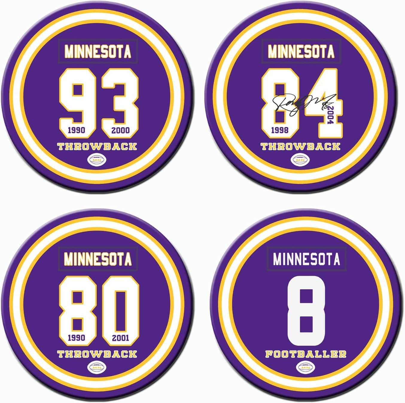 Minnesota Football Coasters for Drinks, Ceramic Non Vikings Coasters Set of 4, for Vikings Man Cave Cup Mug Glass Table Home Decor, Vikings Party Supplies Decorations, Vikings Gifts for Men Women