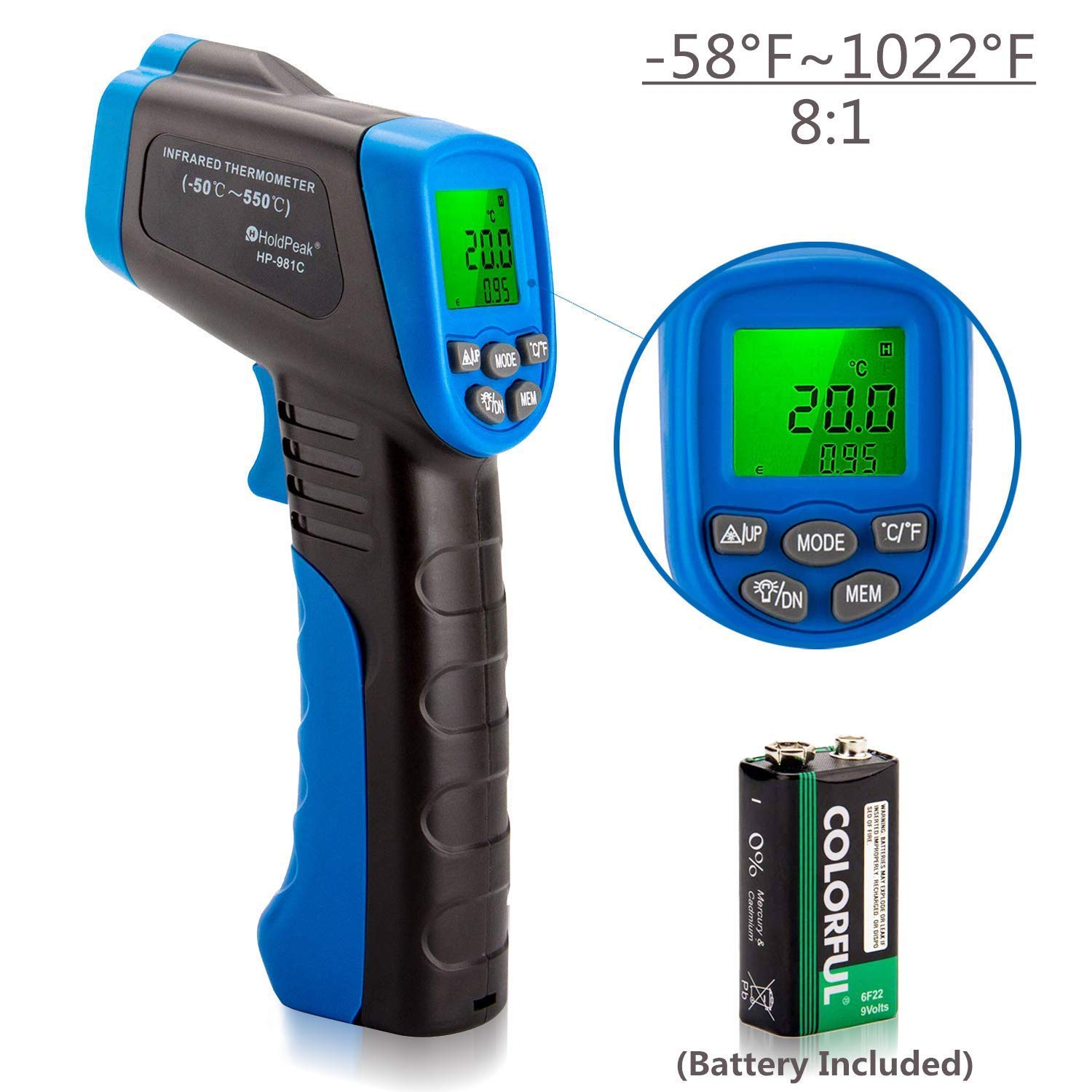 HOLDPEAK 981C Non-Contact Digital Laser Infrared Thermometer Temperature Gun Instant-read -58 to 1022℉ (-50 to 550℃) with 9V Battery and Emissivity 0.1-1.0(Adjustable)