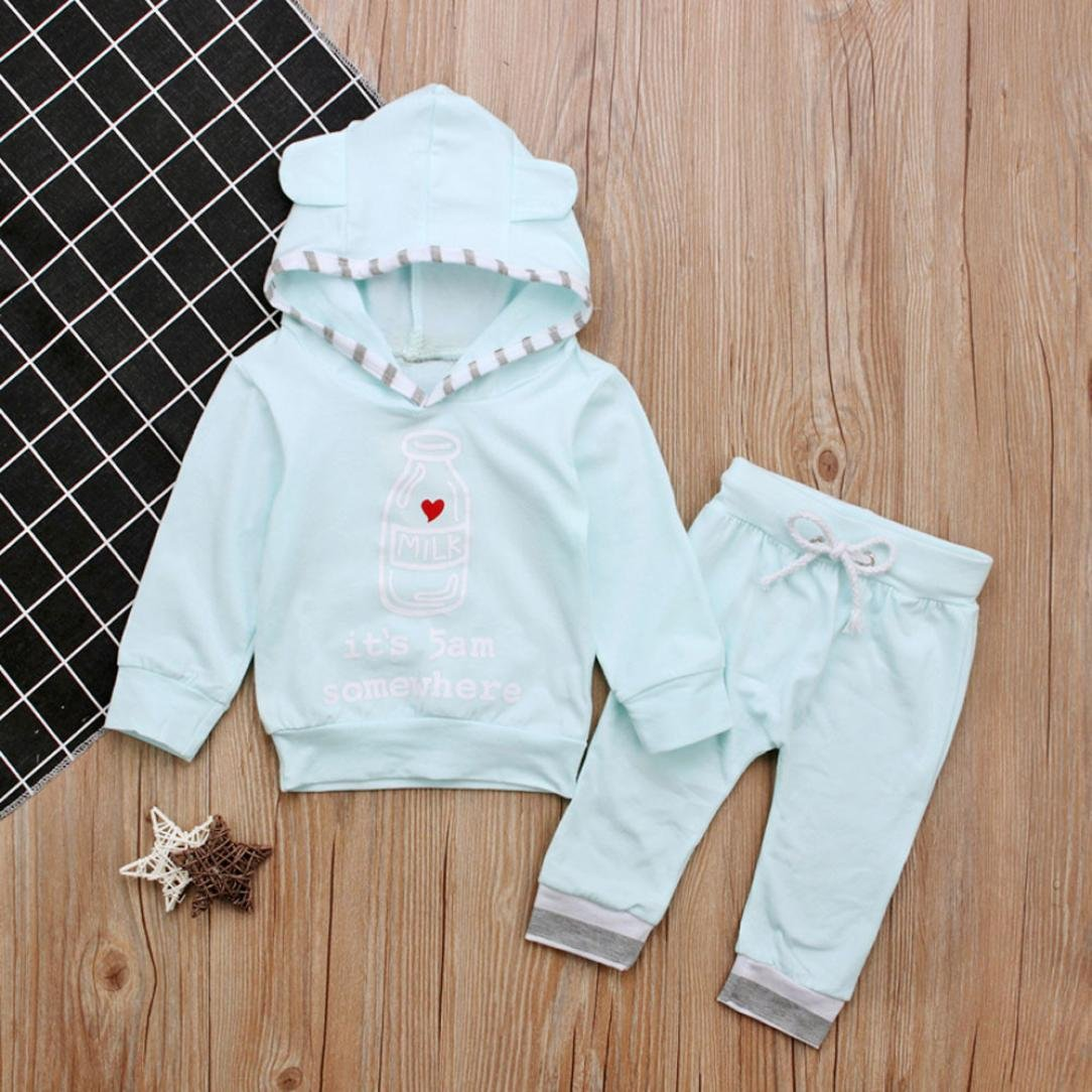 DIGOOD 0-18 Months Baby Toddler Baby Girls Boys Letter Feeder Hooded Tops+Pants Outfits Clothes
