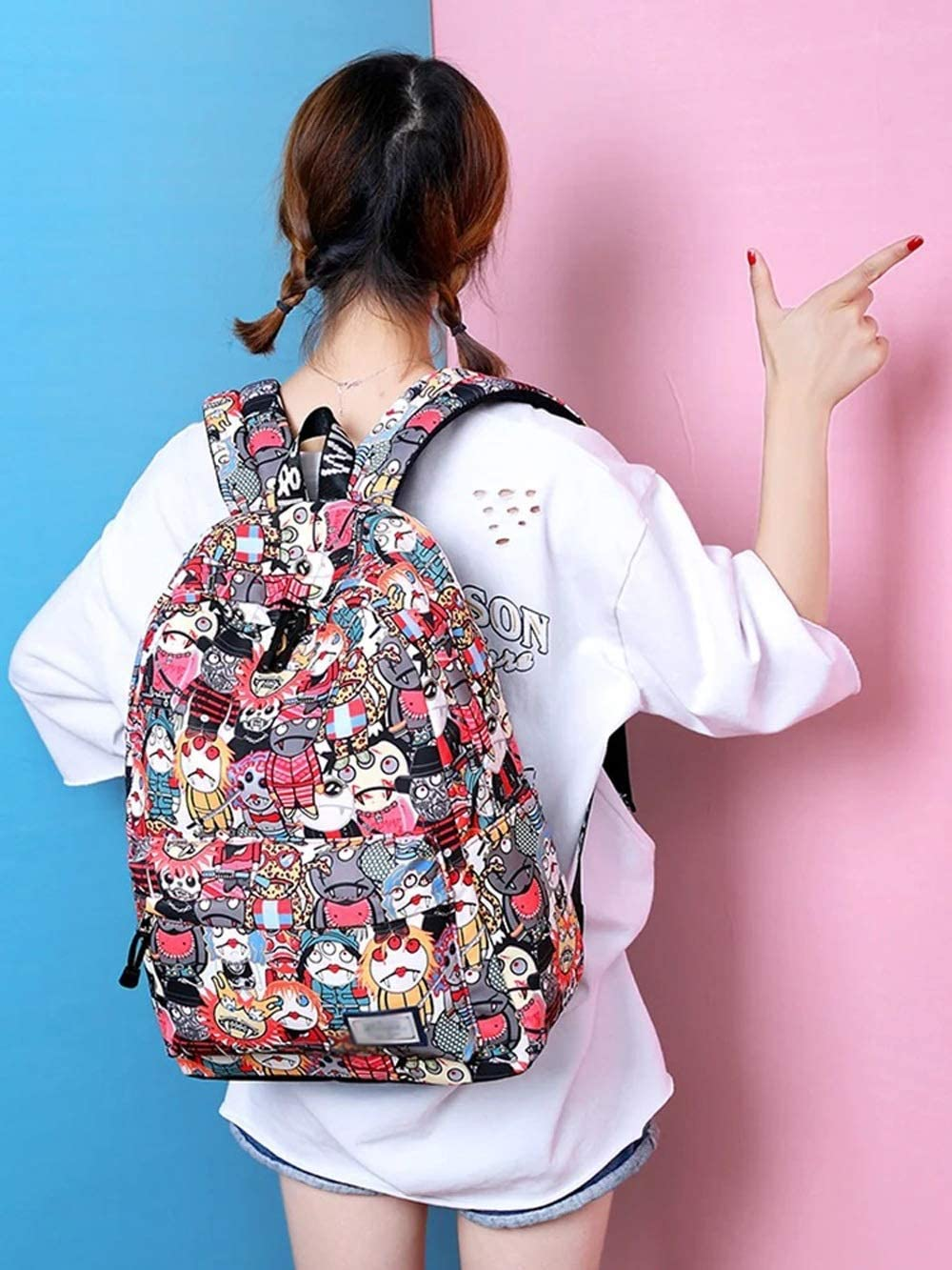 CGH Printing Canvas Backpack Rucksack Kindergarten School Student Bag for Boys Girls Kids Children Toddlers