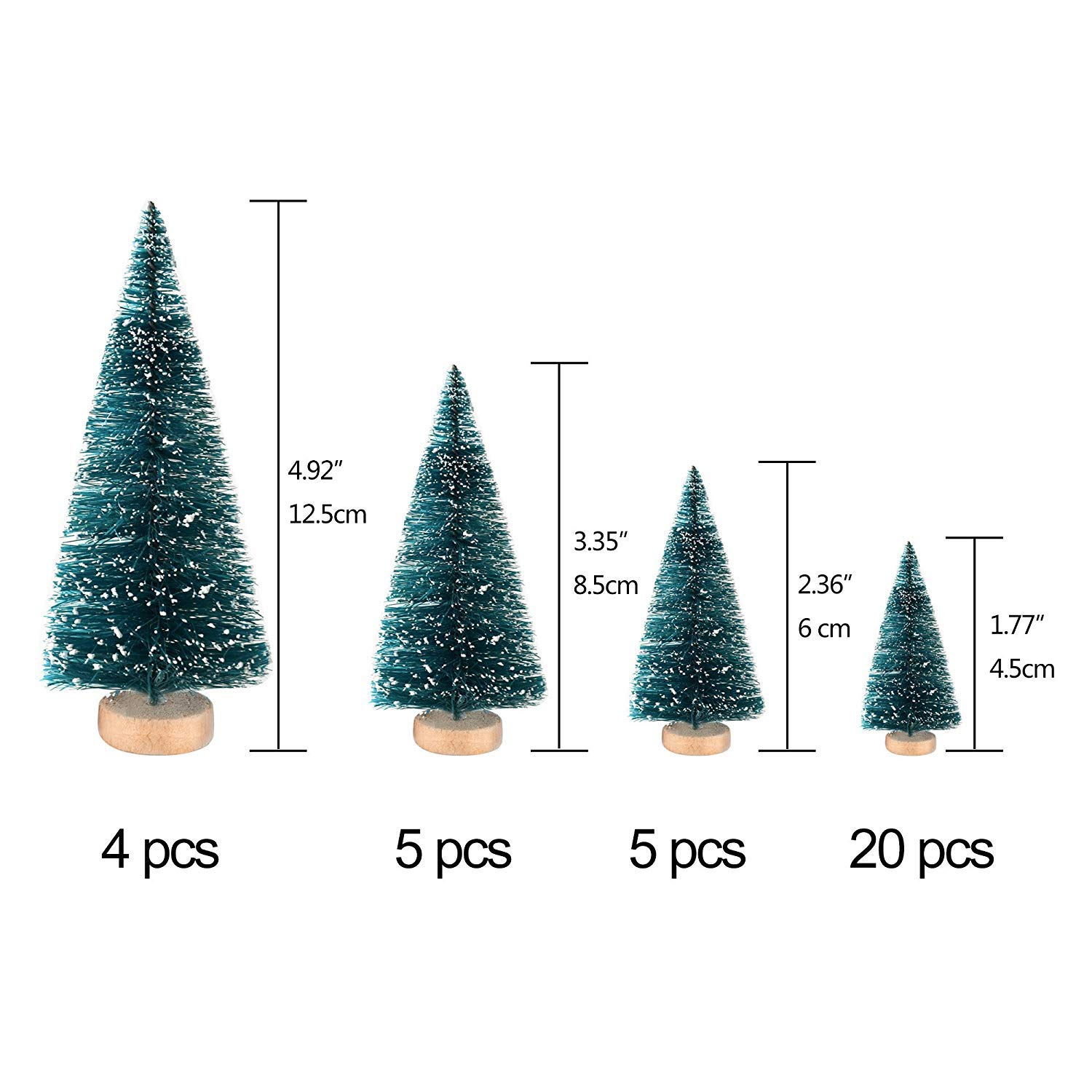 BELUPAID 34Pcs Mini Sisal Snow Frost Christmas Trees with Wood Base Bottle Brush Trees,Plastic Ornaments Tabletop Pine Tree for DIY Room Decor Crafting and Displaying Decoration