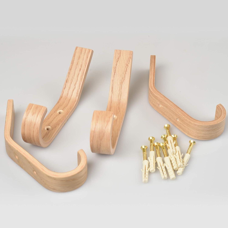 Amazon.com: Juego de 4 ganchos de pared de madera para ...