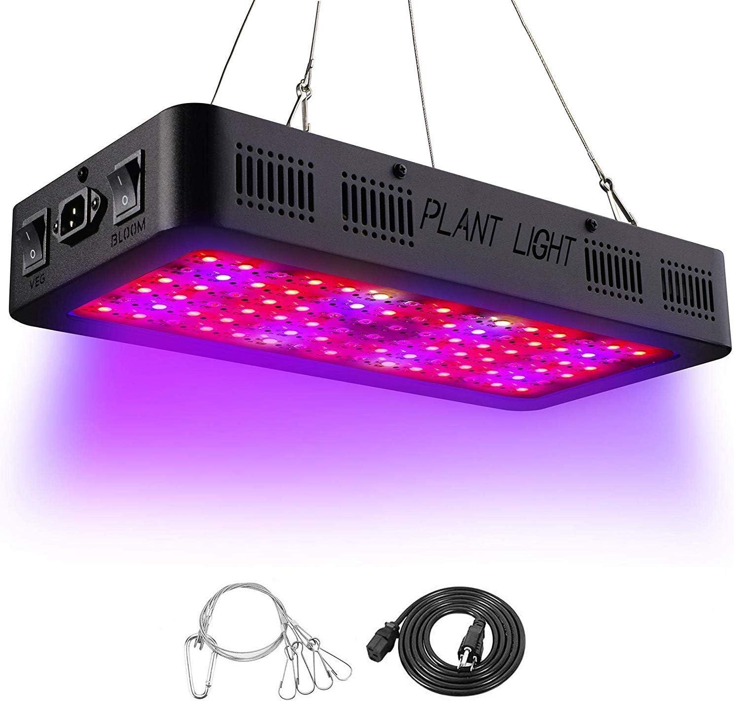 LED Cultivo - Lampara Cultivo Talla Grande,Focos CultivoLuces LED Grow con La luz UV del IR para Armario Cultivo Interior (900W)