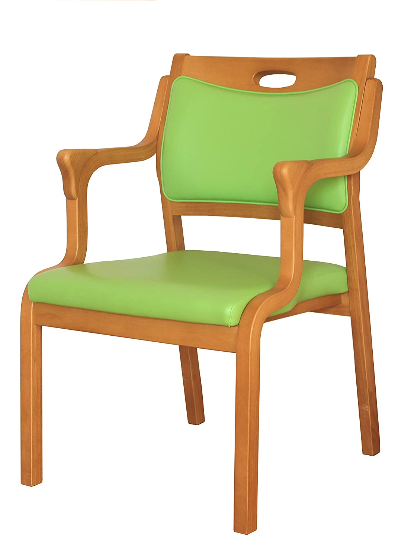 大川家具 貞苅椅子製作所 ダイニングチェア Care-AC-101-IN(グリーン) 介護向け木製イス 肘付き 三角グリップ 完成品 245824 B01M1VD2MY