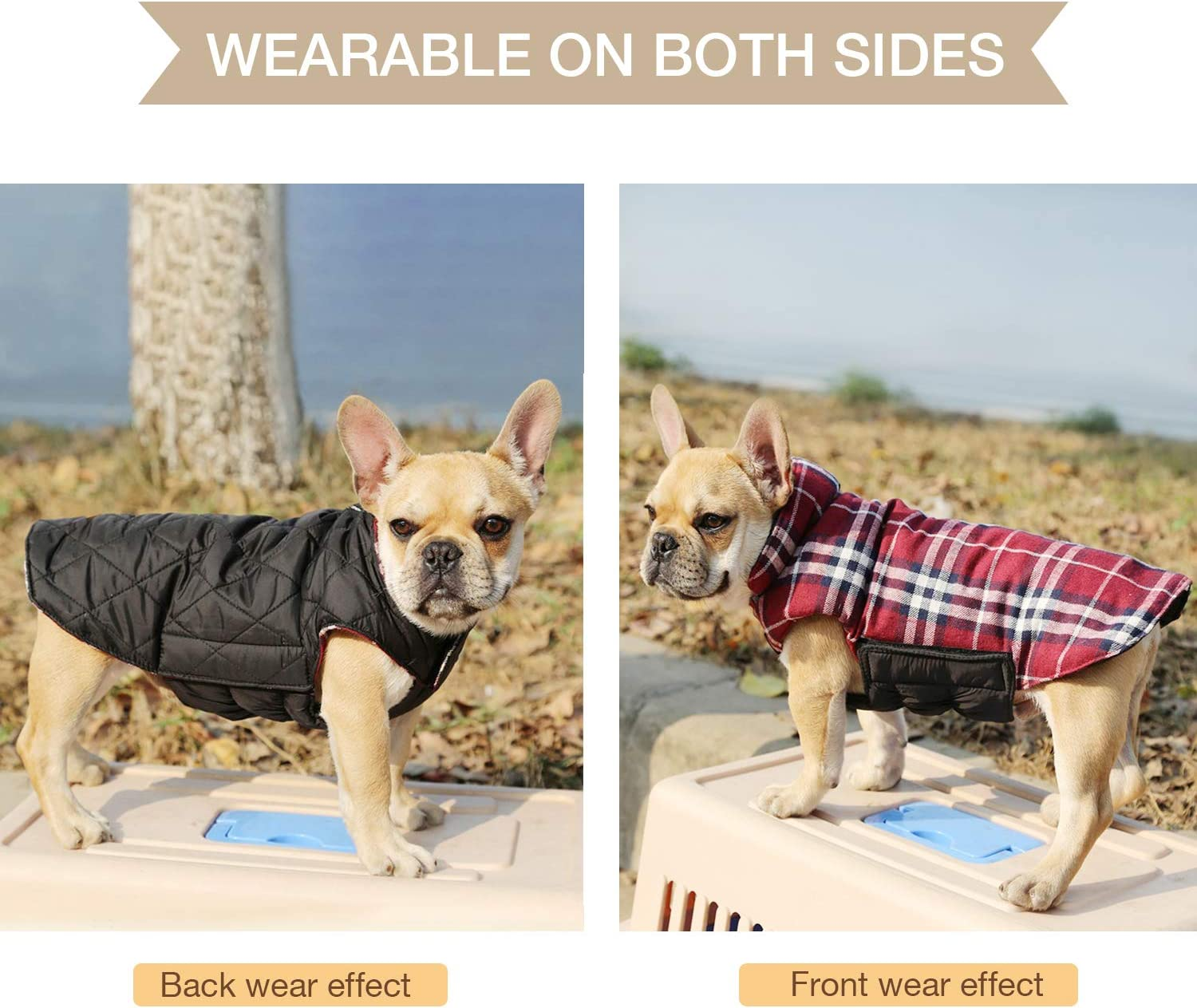 Warm Dog Jacket Reversible Padded Coat Winter Vest with Harness Hole WOOCE Dog Coat Clothes for Puppy Small Medium Dogs Beige-XL