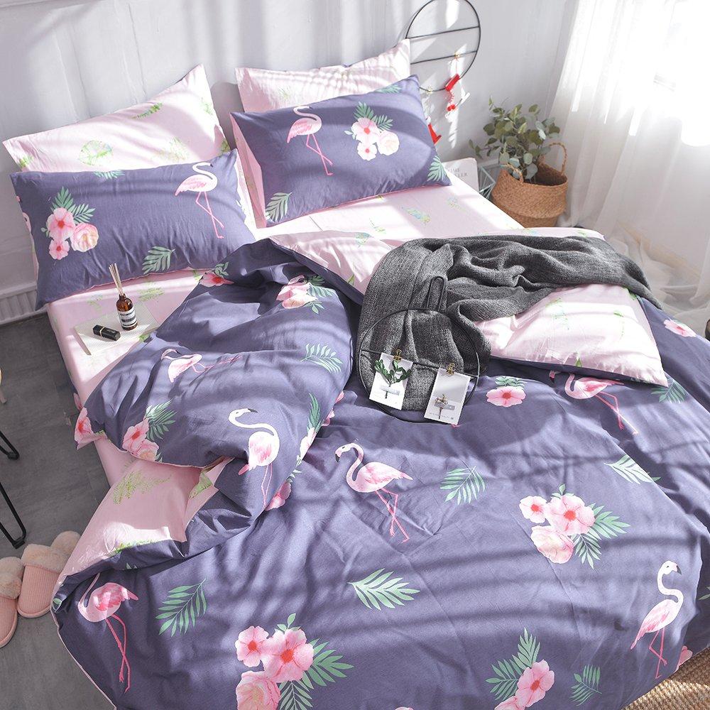 AMZTOP 【Newest Arrival】 Twin Duvet Cover Cotton Floral Duvet Cover Girls Duvet Cover Set Kids Comforter Cover Set Purple Flower Bedding Set 1 Duvet Cover with 2 Pillow Shams,NO Comforter NO Sheet
