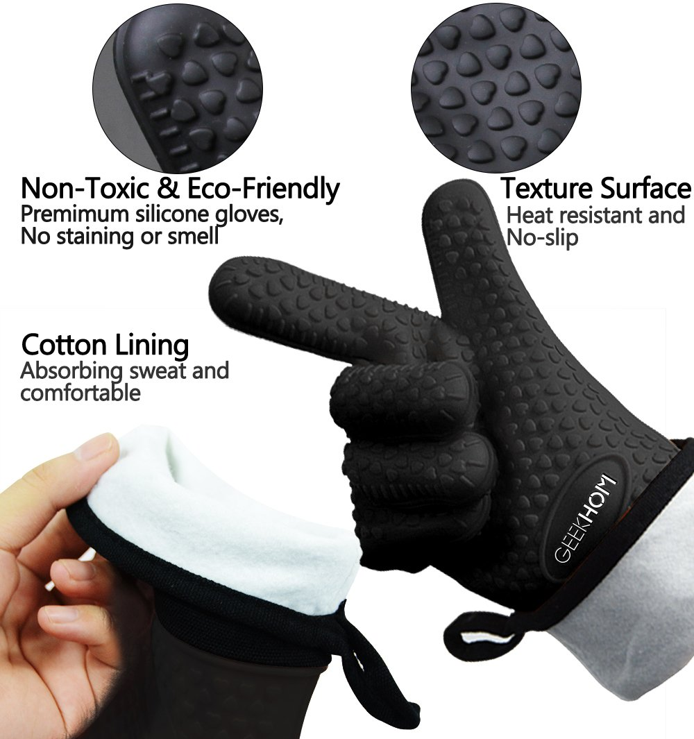 GEEKHOM Grilling Gloves, Heat Resistant Gloves BBQ Kitchen Silicone Oven Mitts, Long Waterproof Non-Slip Potholder for Barbecue, Cooking, Baking (Black) by GEEKHOM (Image #2)