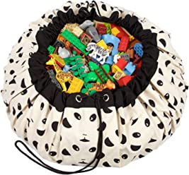 Mr Play Mat and Toy Storage Bag Large Drawstring Portable Container for Kids Toys Moustache Books 55 Durable Floor Activity Organizer Mat
