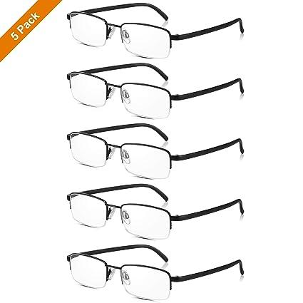 Read Optics: PACK X5 Gafas de Lectura Vista Negras de Media Montura Metálica - Lentes Transparentes para Leer Graduadas hasta +3.5 Dioptrías para ...