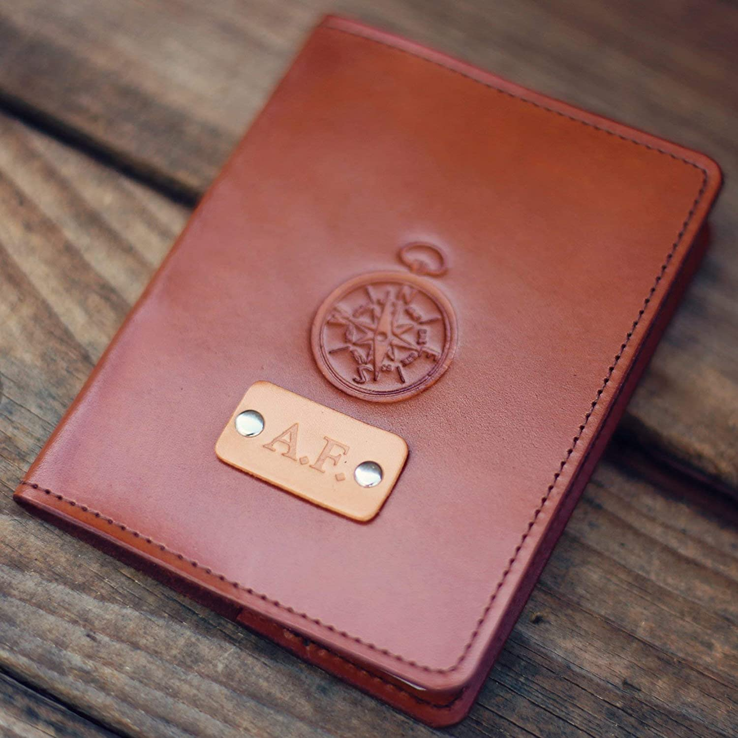 6980d62e3944 Personalized Leather Passport Cover, Real Leather, holder, wanderlust,  travel, Compass Passport Cover, handmade, Custom text, name initials