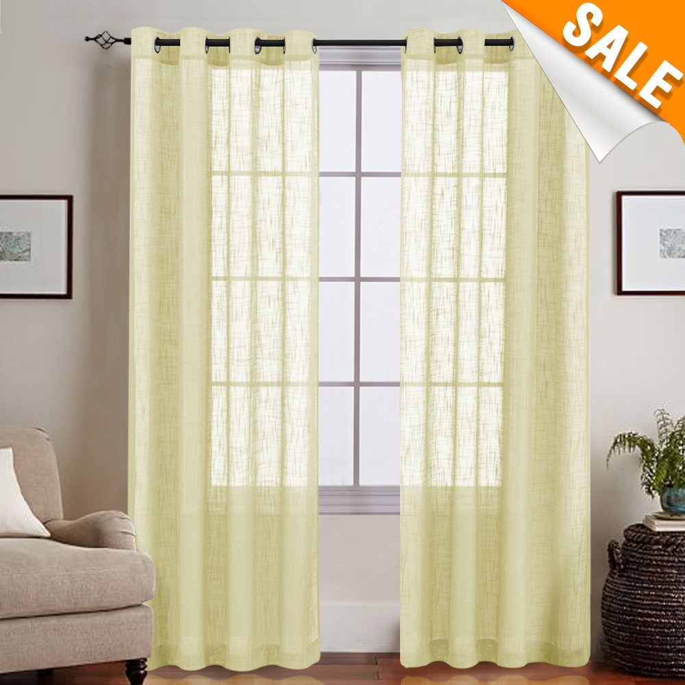 Amazon.com: Linen Like Sheer Curtains for Living Room, Open Weave ...