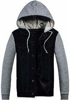 Urban Classic Mens Hooded Denim Fleece Jacket Black blk Small Urban ... 5b54f35527