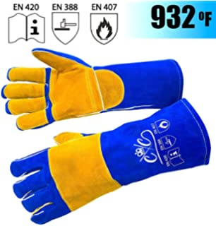 23.6 Inchs Long Sleeves Leather Forge Welding Gloves Heat//Fire Resistant Mitts for Oven//Grill//Fireplace//Furnace//Stove//Pot Holder//Tig Welder//Mig//BBQ//Animal Handling Glove for Men Women