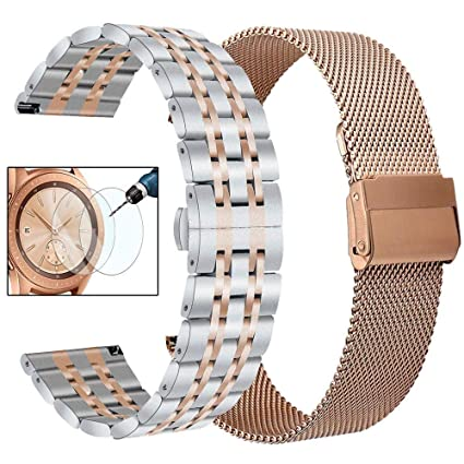 CAGOS Compatible Galaxy Watch 42mm/Galaxy Watch Active 2 Bands, 2 Pack Stainless Steel + Mesh Strap Bracelet Replacement for Samsung Galaxy Watch ...