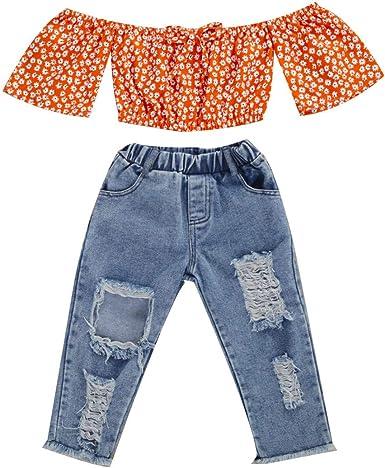 jsadfojas - Camisa con pajarita y hombros descubiertos con cuello ranurado + pantalones vaqueros rotos, 2 piezas, moda verano: Amazon.es: Ropa y accesorios