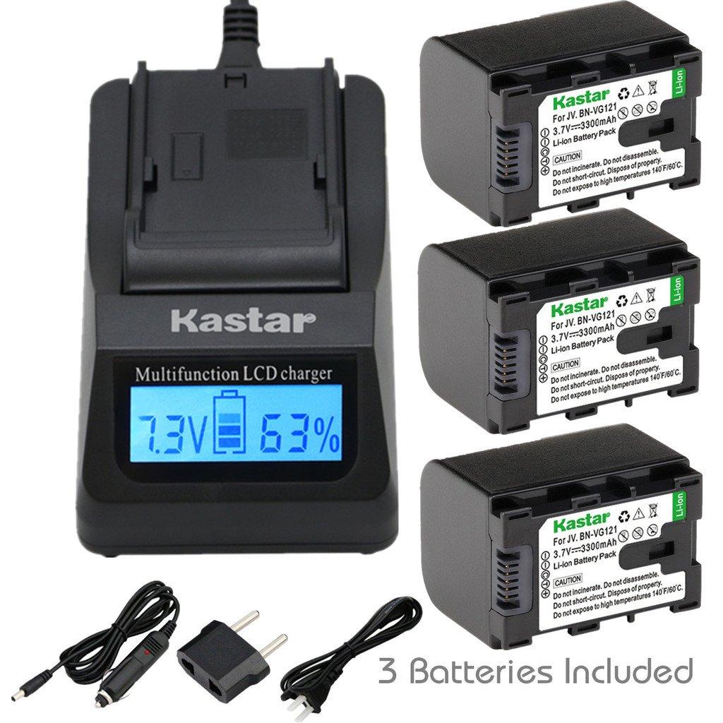 [完全にデコード] kastar超高速充電器( 3 x Faster )キットand bn-vg121バッテリー( 3 - Pack ) for JVC bn-vg107 / U /米国、bn-vg114 / U /米国、bn-vg121 / U /米国とJVC Everio gz-e10、gz-e100、gz-e200、gz-e300、gz-e505、gz-e565、gz-ex210、gz-ex215、gz-ex245、gz-ex250、gz-ex265、gz-ex275、gz-ex310、gz-ex355、gz-ex515、gz-ex555、gz-ex575、gz-hd500、gz-hd520、gz-hd620、gz-hm30、gz-hm50、gz-hm300、gz-hm320、gz-hm340、gz-hm440、gz-hm450、gz-hm550、gz-hm650、gz-hm670、gz-hm690、gz-hm860、gz-hm960、gz-mg750、gz-ms110、gz-ms230、gz-ms250、gz-g3、gz-gx1、gz-gx8 B00WTHWM58