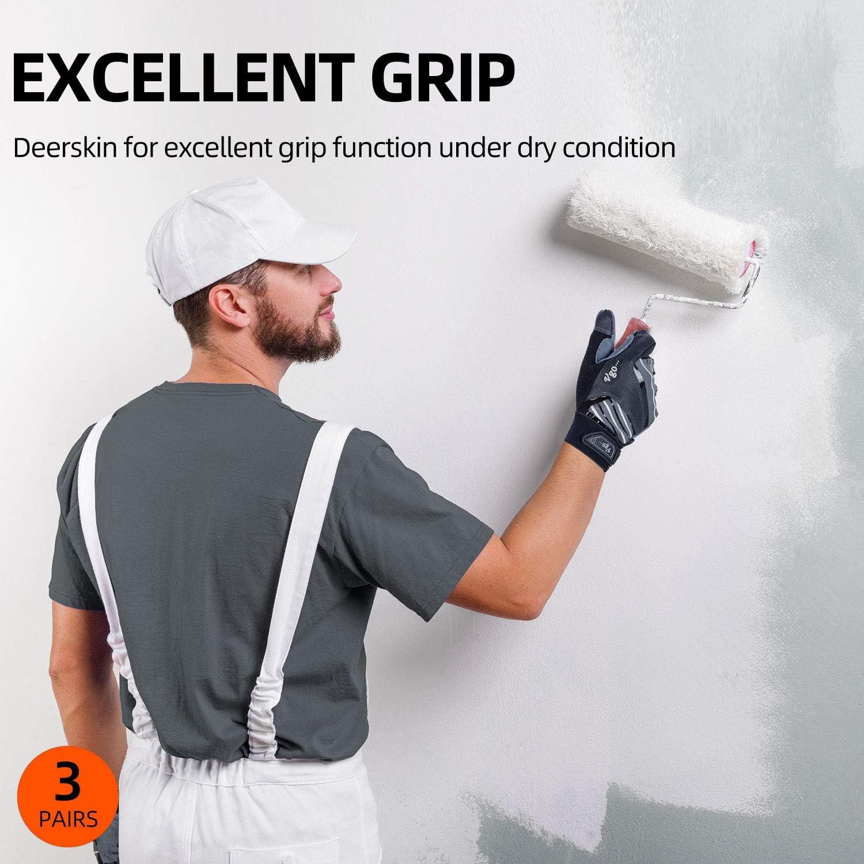 Compatibles avec /Écrans Tactiles Vgo 3 Paires Gants de Travail en Cuir de Cerf pour Hommes 8//M, 3 Couleurs, DB9705 Haute Respirabilit/é
