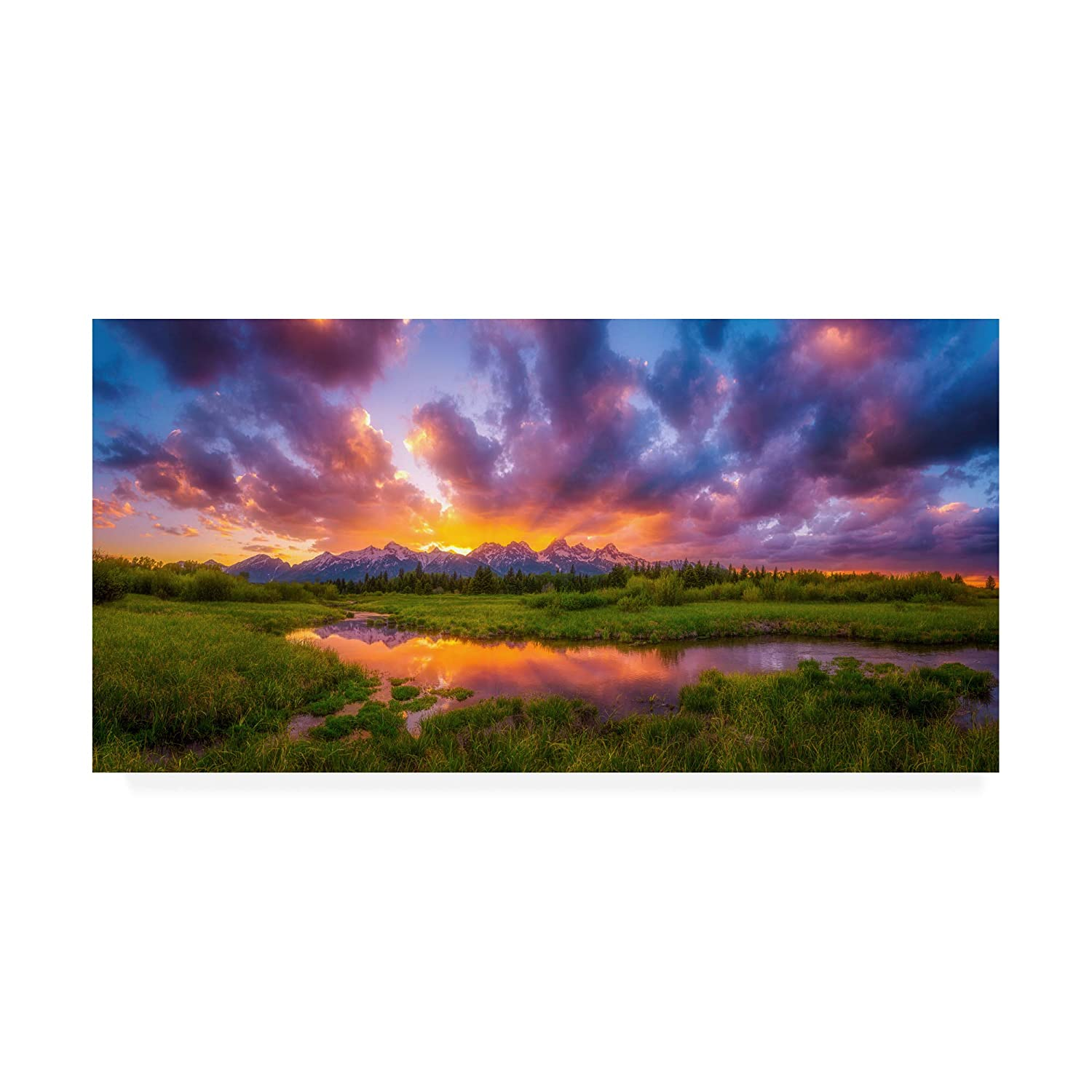 10x19 Trademark Fine Art Grand Sunset in The Tetons