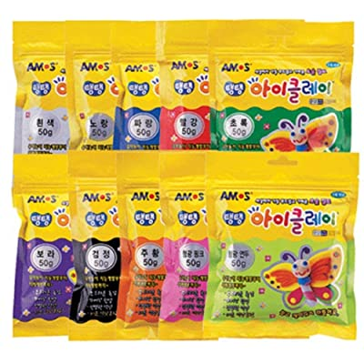 AMOS Clay 50g (1.8oz) Set of 10 Colors/Very Soft and Smooth IClay The Softest Lightest Clay in The World: Home & Kitchen
