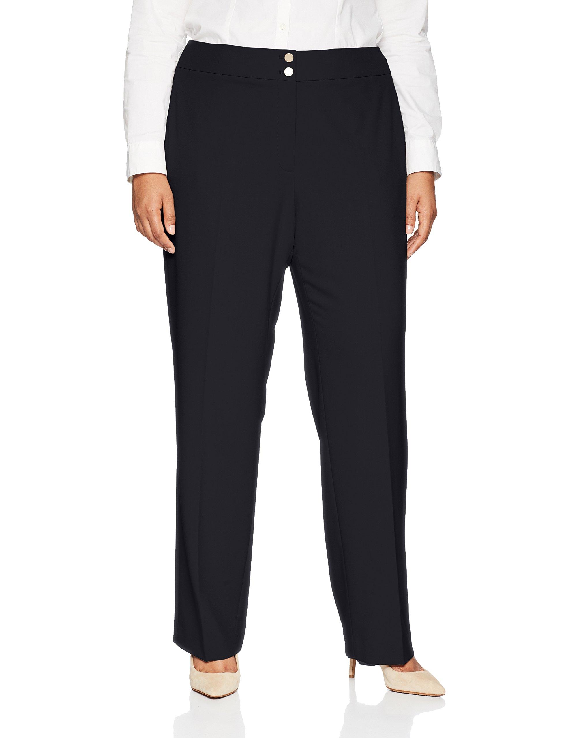 Calvin Klein Women's Plus Size Classic Fit Lux Pant, Navy, 18W