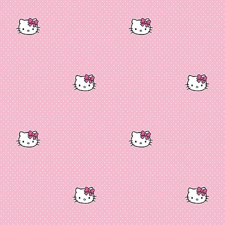 KidshomeIII Childrens Paper Wallpaper Hello Kitty Pink Polka Dots Collection