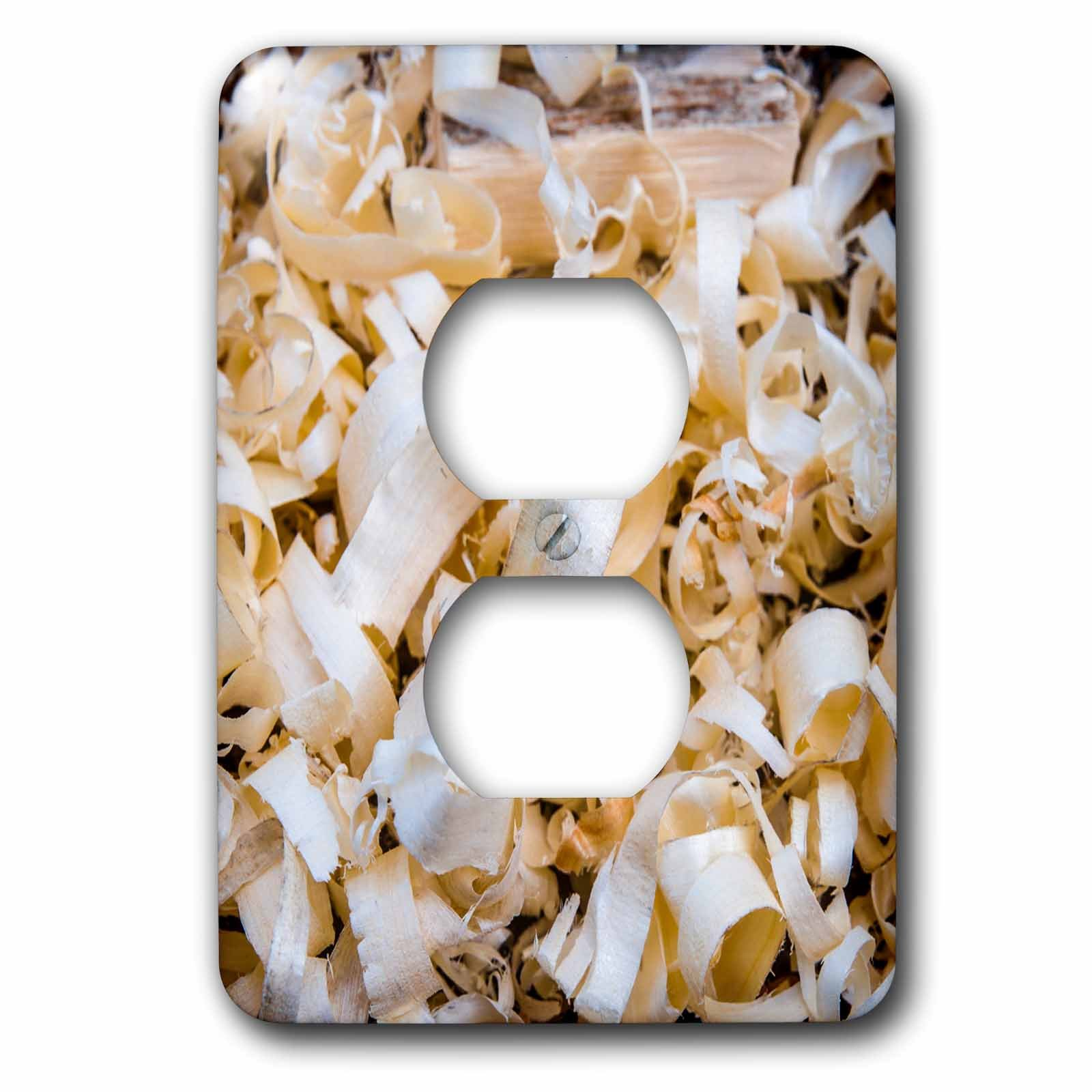 3dRose Alexis Photography - Objects - Pile of wooden shavings left after the woodwork activity - Light Switch Covers - 2 plug outlet cover (lsp_273241_6)