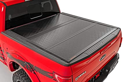 Rough Country Low Profile Hard Tri Fold Compatible W 2015 2020 F150 5 5 Ft Bed Flush Tonneau Cover 47220550 Rough Country Amazon In Car Motorbike