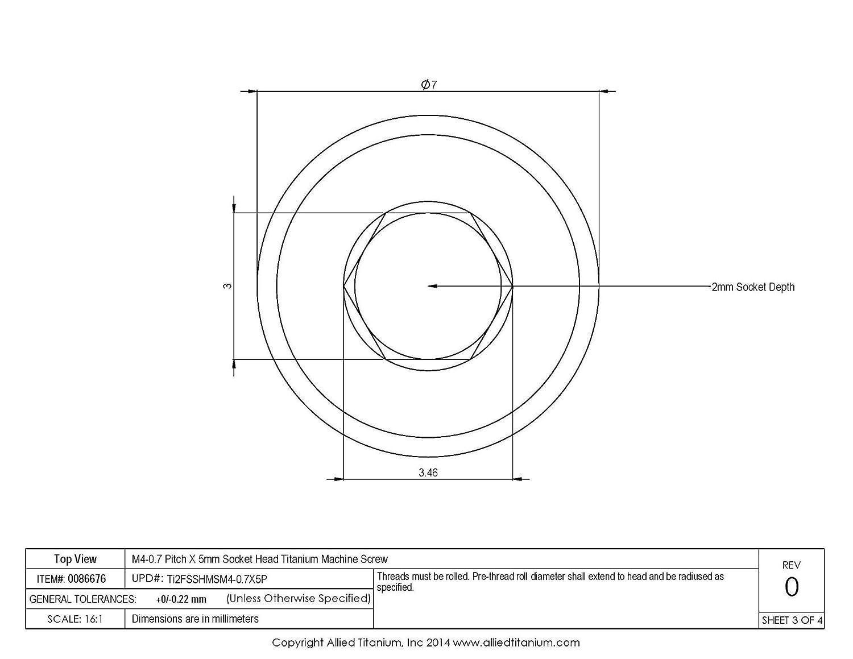 Grade 2 Pack of 10 1033898001 Inc M4-0 7 Pitch X 5mm Socket Head