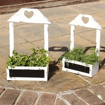 Set de dos años pizarra de madera blanco envejecido cesta maceteros. Ideal para plantar flores, hierbas o micro-herbs sobre un Windowsill o en el jardín. Grandes: H46 x W27 x D10/pequeño H40 x