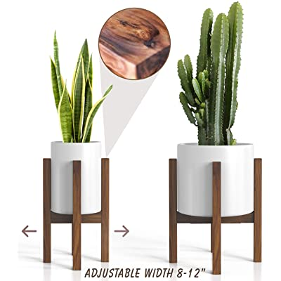 """Mid Century Plant Stand - Adjustable Modern Indoor Plant Holder - Brown Planter Fits Medium & Large Pots Sizes 8 9 10 11 12 inches (Not Included) (Adjustable Width: 8-12"""" x 16"""" Tall, Dark Brown) : Garden & Outdoor"""