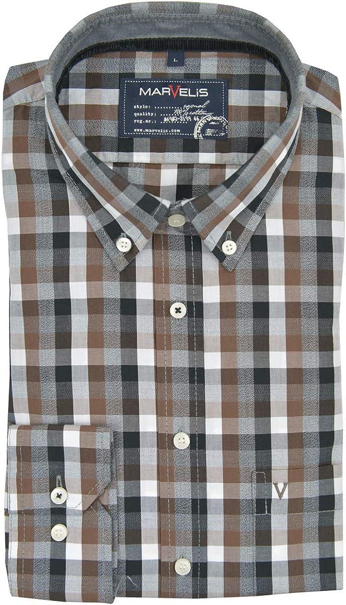 Marvelis - Camisa Casual - Cuadros - con Botones - Manga Larga - para Hombre marrón L: Amazon.es: Ropa y accesorios