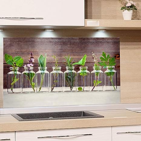 GRAZDesign Spritzschutz Glas für Küche, Herd Bild-Motiv Kräuter im Glas  Küchenrückwand Küchenspiegel Glasrückwand (100x50cm)